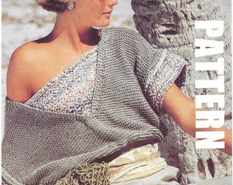 Cotton Off the Shoulder Summer Top, Knitting Pattern, PDF Instant Download, Vintage Ladies Fashion, Textured Top, 50% OFF JUNE