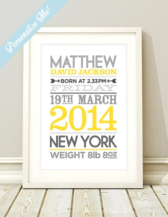 Personalized Baby Birth Stats Nursery Print