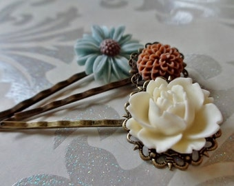 Something Blue Wedding Floral Hair Clips