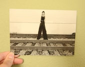 Black and White Postcard and Photography, Railroad photography, Unique Card, Stilt Walker Postcard and Print