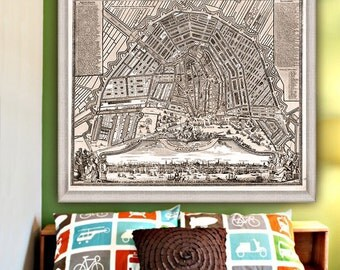 "Map of Amsterdam 1727, Large vintage Amsterdam map up to 36x30"" (90x75cm) Amsterdam Holland Netherlands - Limited Edition - Print 7"