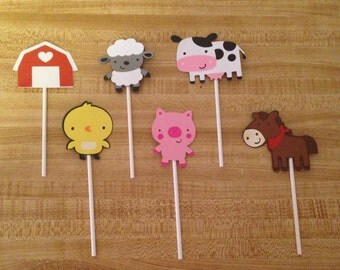 Set of 12 Barnyard Cupcake Toppers