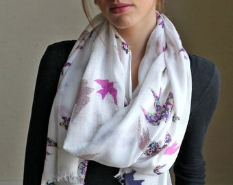 Pretty Origami Flying Birds Soft White Scarf. Trendy Scarves. Shoulder Wraps.  Unique Gift Ideas for Her