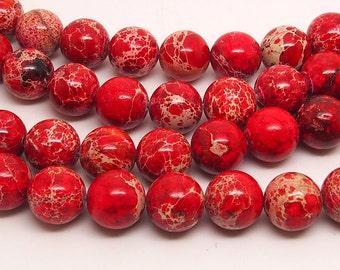 16 inch Full strand  Red  Sea Sediment Jasper   10mm  round  bead