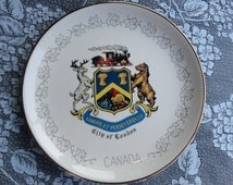 "Vintage Collectible Souvenir Decorative 9.25"" Plate ""City Of London"" CANADA / 22K Gold Decorated"