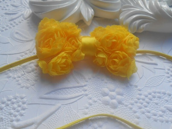 Yellow Bow Baby Headband, Newborn Headband,  Infant Headband,Baby Headband, Headband Baby, Baby Headband