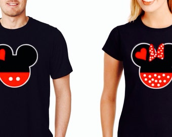 Couple Shirts Mickey and Minnie Heads Inspired Shirts~ Couple Tshirts Hes Mine Shes Mine~ Valentines day shirts
