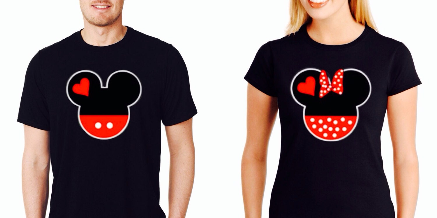couple shirts mickey and minnie heads inspired shirts couple