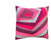 Handmade Patchwork Cushion Cover in Purple, Pink and Teal with Floral and Abstract Design