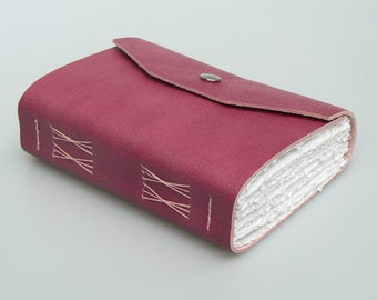 Handmade Leather Book / Journal - Pink