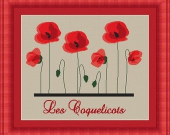 POPPY/ coquelicots  -Counted cross stitch pattern /grille point de croix ,Cross Stitch PDF, Instant download , free shipping
