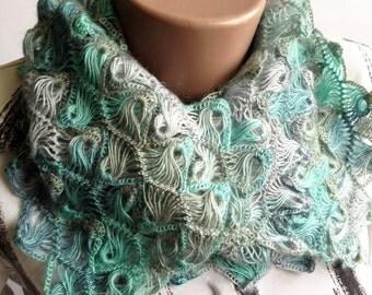 "Hairpin lace loom scarf ""Melange"", Hairpin loom scarf, melange scarf, crochet scarf, beautiful scarf, lacy scarf, fashion scarf women"