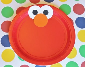 Elmo Inspired Party Plates