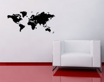 World Map Decal Wall Sticker Atlas Office Home Countries