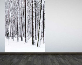 Wall Mural Winter Forest Wall Paper Panel Interior Design Home Decor