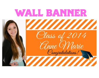 Graduation Photo Banner ~ Personalize Party Banners Indoor or Outdoor Class of 2015 Orange School Colors