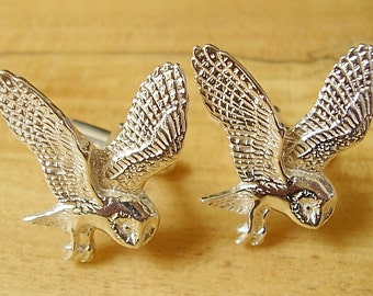 One Pair Sterling Silver Owl Cufflinks With Swivel Fittings