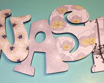 Custom Decorated Wooden Letters - yellow and gray - flowers