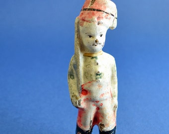 Sale 20% Off // Antique 1800s Rare, Papier Mache French toy soldier // Coupon Code SALE20