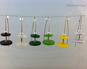 Long sterling silver and colored resin earrings