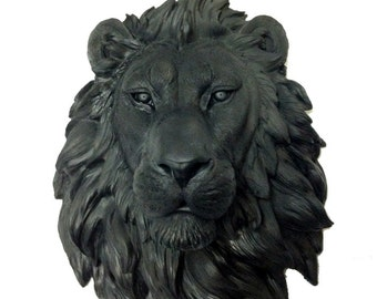 Black Lion Head Mount Wall Statue. Faux Taxidermy Fake Lion Head.