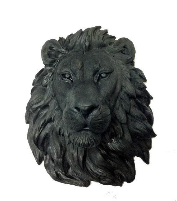 t te de lion noire statue de montage mural t te de lion faux. Black Bedroom Furniture Sets. Home Design Ideas