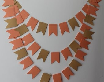 Peach Wedding Bunting, Coral Banner, Wedding Garland, Pennant banner, Paper chain, Wedding Bunting, Wedding Pennant, Wedding decor, Peachy