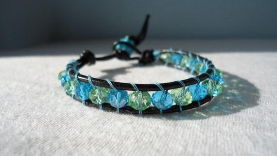 Crystal Wrap Bracelet - Blue - Green - Leather Bracelet - Bohemian Style - Crystal Jewelry
