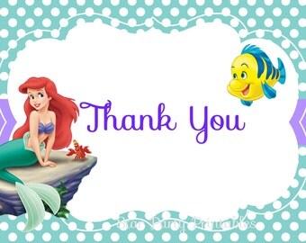 Instant Download, The Little Mermaid Thank you card, Ariel, Disney Princess, Kid's Birthday Party thank you, Birthday thank you card