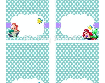Instant Download, The Little Mermaid Birthday table tents, placecards, Ariel, Disney Princess, Kid's Birthday Party