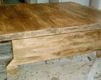 New Hand Made Extra Large Square Rustic Coffee Table 025