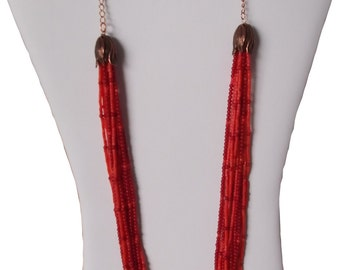 Coral multistrand necklace
