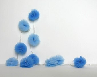 10 Led - Light string of PomPoms in blue tulle