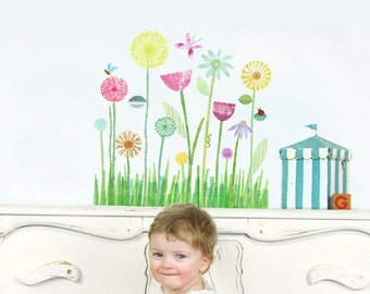 Garden Mural Fabric Wall Decal, Medium - Flower Wall Stickers