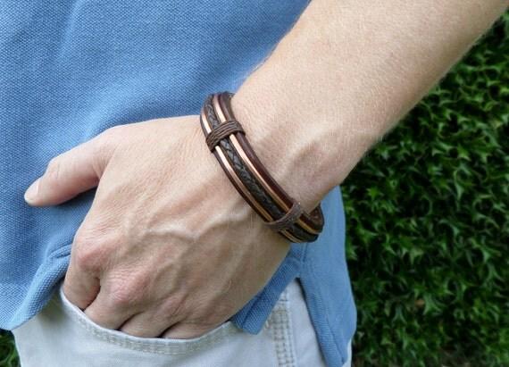men 39 s leather bracelet men 39 s copper bracelet. Black Bedroom Furniture Sets. Home Design Ideas