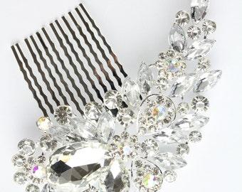 Vintage Style Encrusted Silver Diamante Crystal Gem Hair Comb Fascinator Hair Grip Slide Bridal Wedding Party Bridesmaids