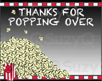 INSTANT DOWNLOAD, 5x7 Movie Theme Thank You card, Popcorn Thank You card, Party Thank You card, Birthday, Movie Night,