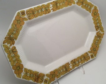 Independence Ironstone by Interpace Small Octagonal Platter - Retro Harvest Brown or Yellow Gold Flower Power Border with Butterflies Leaves