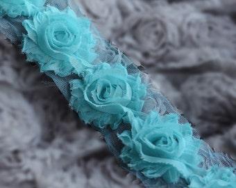 1/2 Yard Shabby Rose Trim 7 pcs Shabby Flower FREE Shipping for 20.00 Order Aqua Blue Shabby Frayed Chiffon Flower Lace LA073