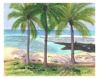 "PAHOEHOE BEACH PARK Original Watercolor 16"" X 20"" Matted"