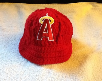 LA Angels of Anaheim Newborn Crochet Baseball Cap - Photographer Prop