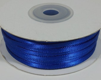 "1/8"" and 1/16"" Royal Blue Double Face Satin Ribbon - 100 Yards"