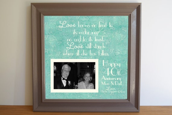 40th Wedding Anniversary Gifts For Mum And Dad : 40th Wedding Anniversary Gift - Anniversary Gift for Mom - Dad ...