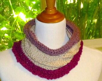 Hand knit organic cotton cowl