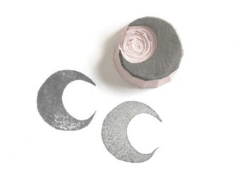 Crescent Moon II Rubber Stamp // moon stamp // pattern textile stamp // | tnp13