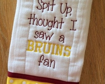Embroidered/Appliqued Baby Infant Burp Cloth with Ribbon Trim - USC - Trojans