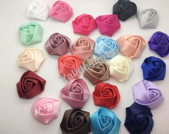 Promotion: 20pcs 5cm or 3.5cm  Wholesale Rose Flower Brooch/Satin Rolled Rosettes Flower Headdress Fabric Flower For Pin and Headband YTA09