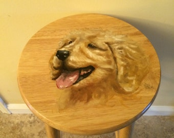Golden Retriever Painted Wooden Stool