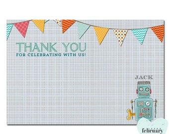 Robot Thank You Card - Boy Birthday Shower Thank You - Butning Banner - No.175