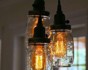 3 & 5 Light Mason Jar Chandelier - Clear Pint